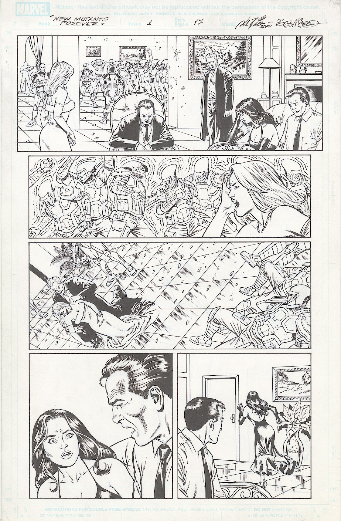 New Mutants Forever - #1, page 17 - pencils by Al Rio, Inks by Bob McLeod, Script by Chris Claremont